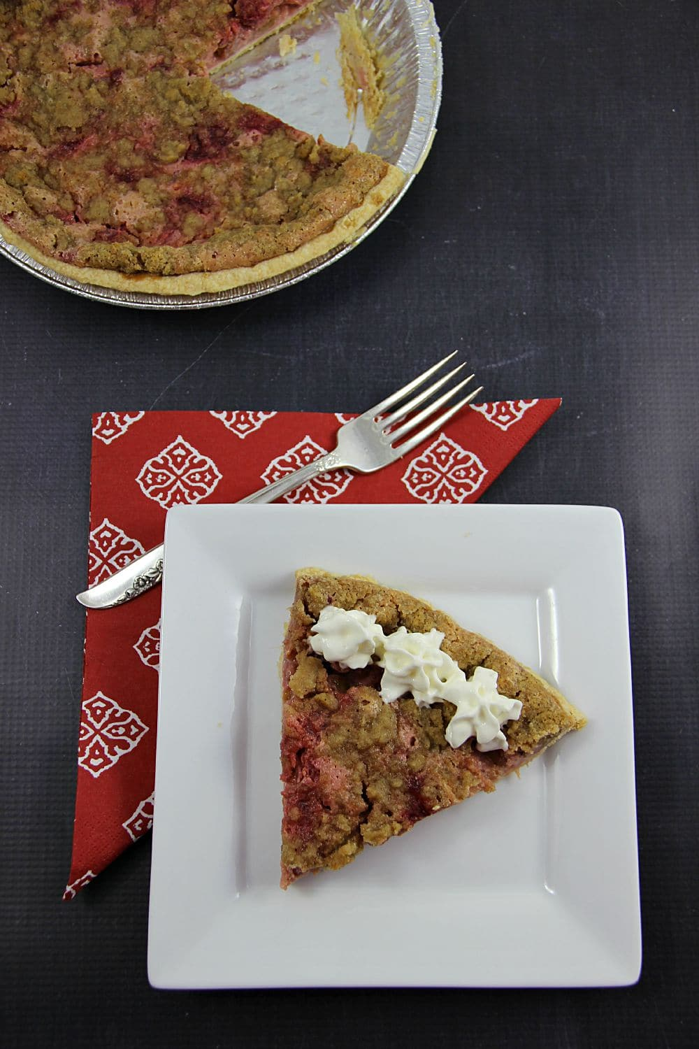 Strawberry Rhubarb Sour Cream Pie