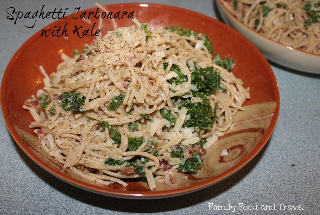 spaghetti carbornara with kale