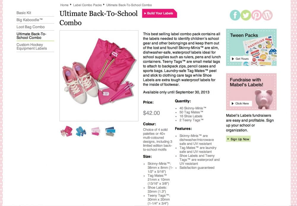 Mabel's Labels Back To School Combo