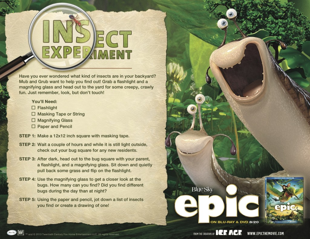 printable epic insect experiment activity sheet