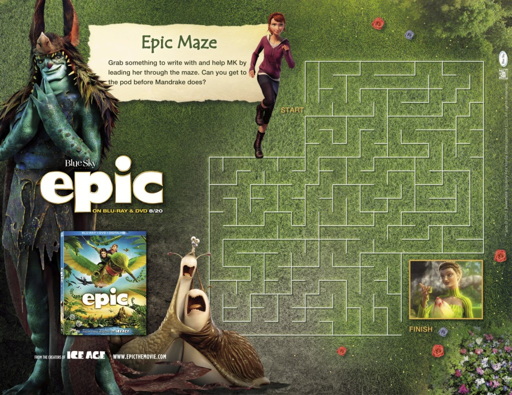 printable epic maze activity sheet