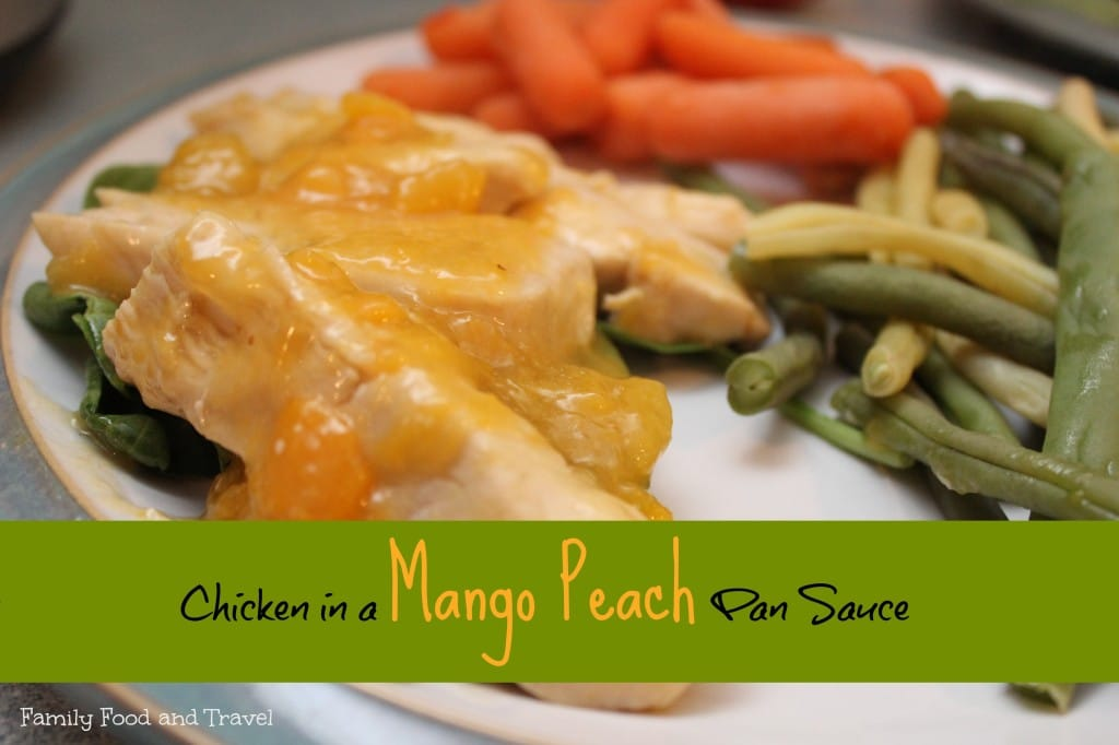 chicken in a mango peach pan sauce
