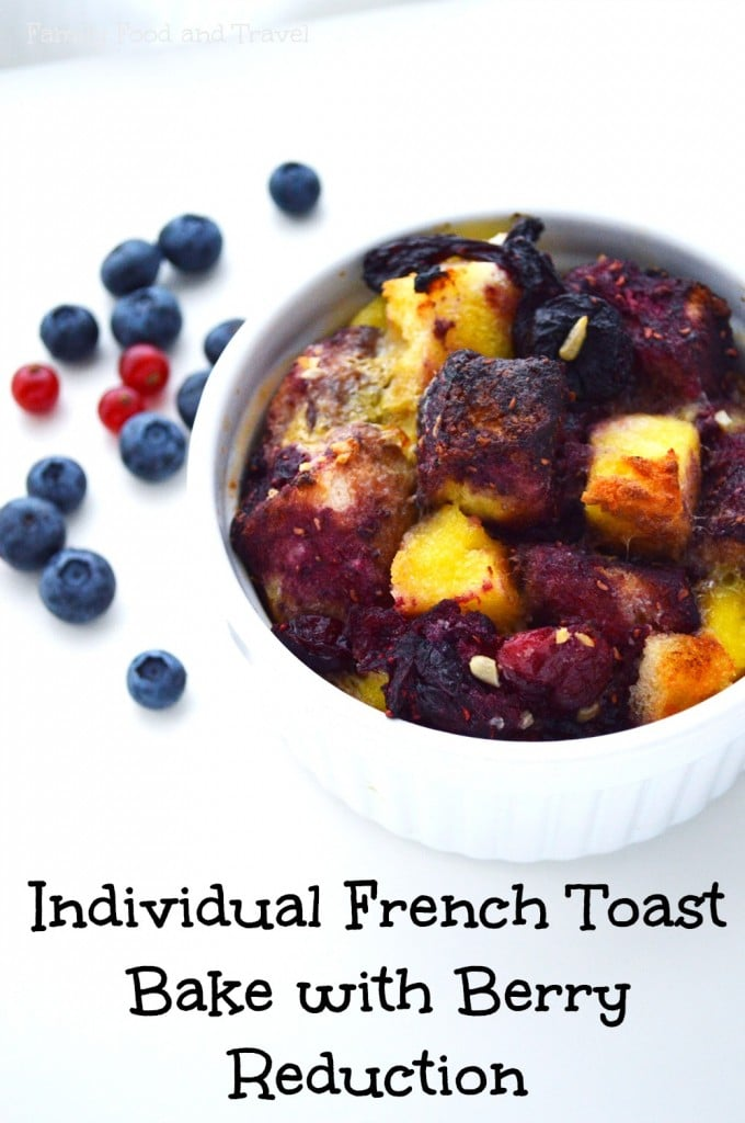 French toast bake with berry reduction and angel food b