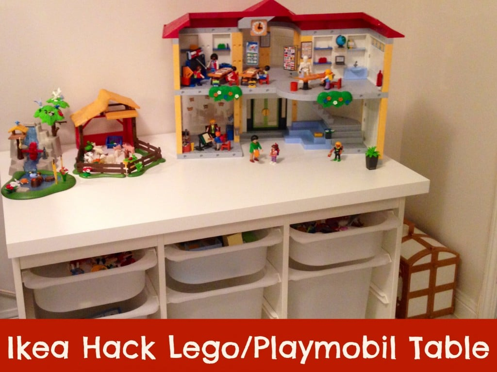 Ikea hack table lego playmobil family food and travel for Table salle manger ikea