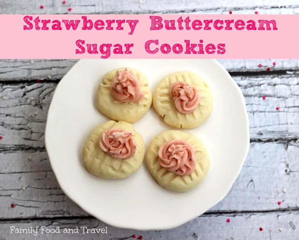 strawberry buttercream sugar cookies