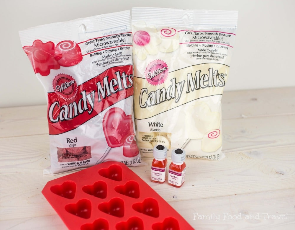 strawberry flavored white chocolate hearts