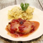Pan Seared Pork Chop with Cranberry Sauce
