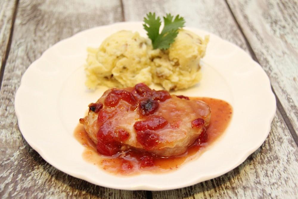 Pan Seared Pork Chop with Cranberry Sauce