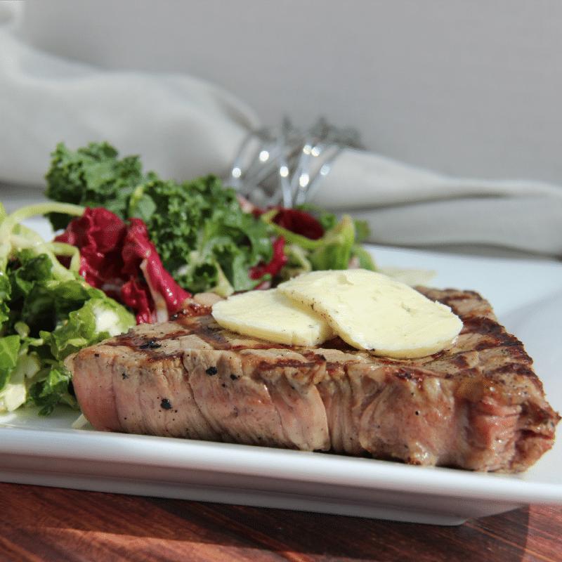 blue cheese butter on steak