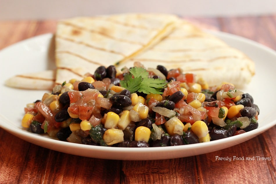 Black Bean and Corn Salad with Quesadilla