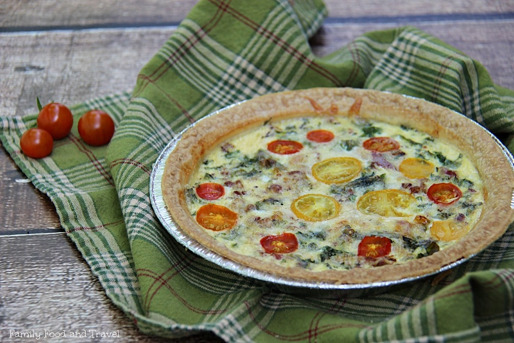 Bacon Tomato and Kale Quiche
