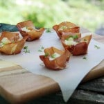 Prosciutto Cups with Apples and Horseradish Cheese