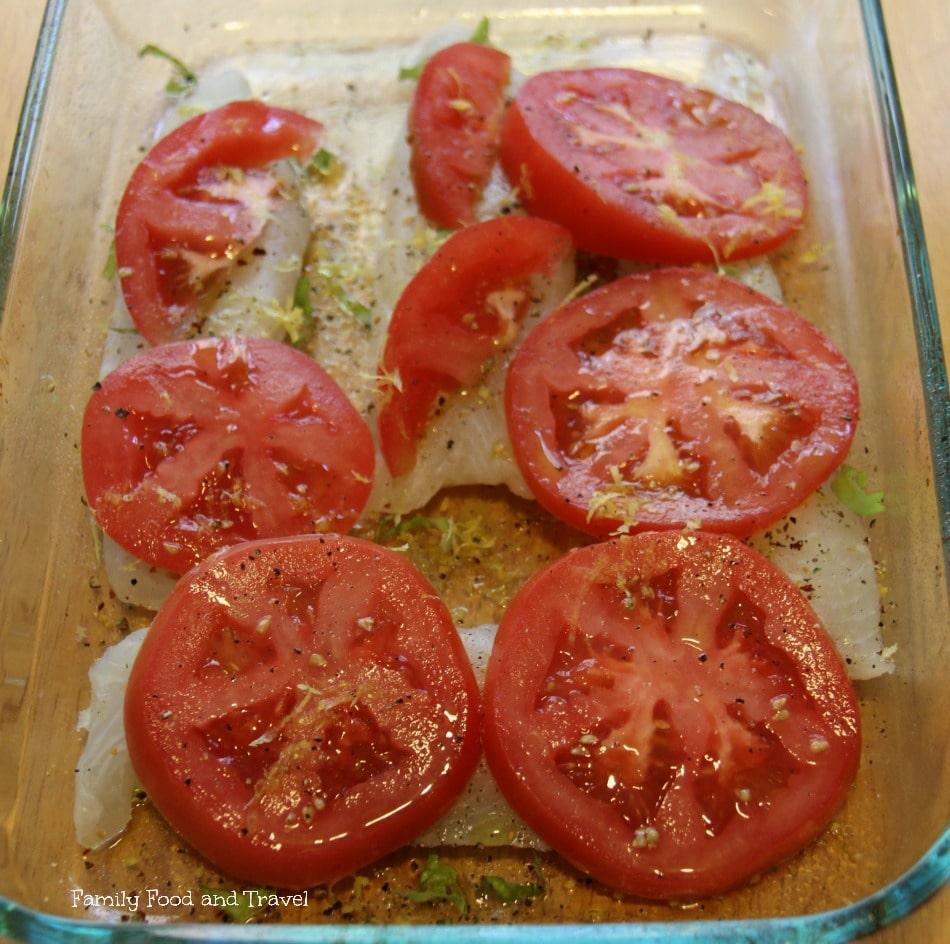 Tomato Baked Tilapia with Lemon Prep2