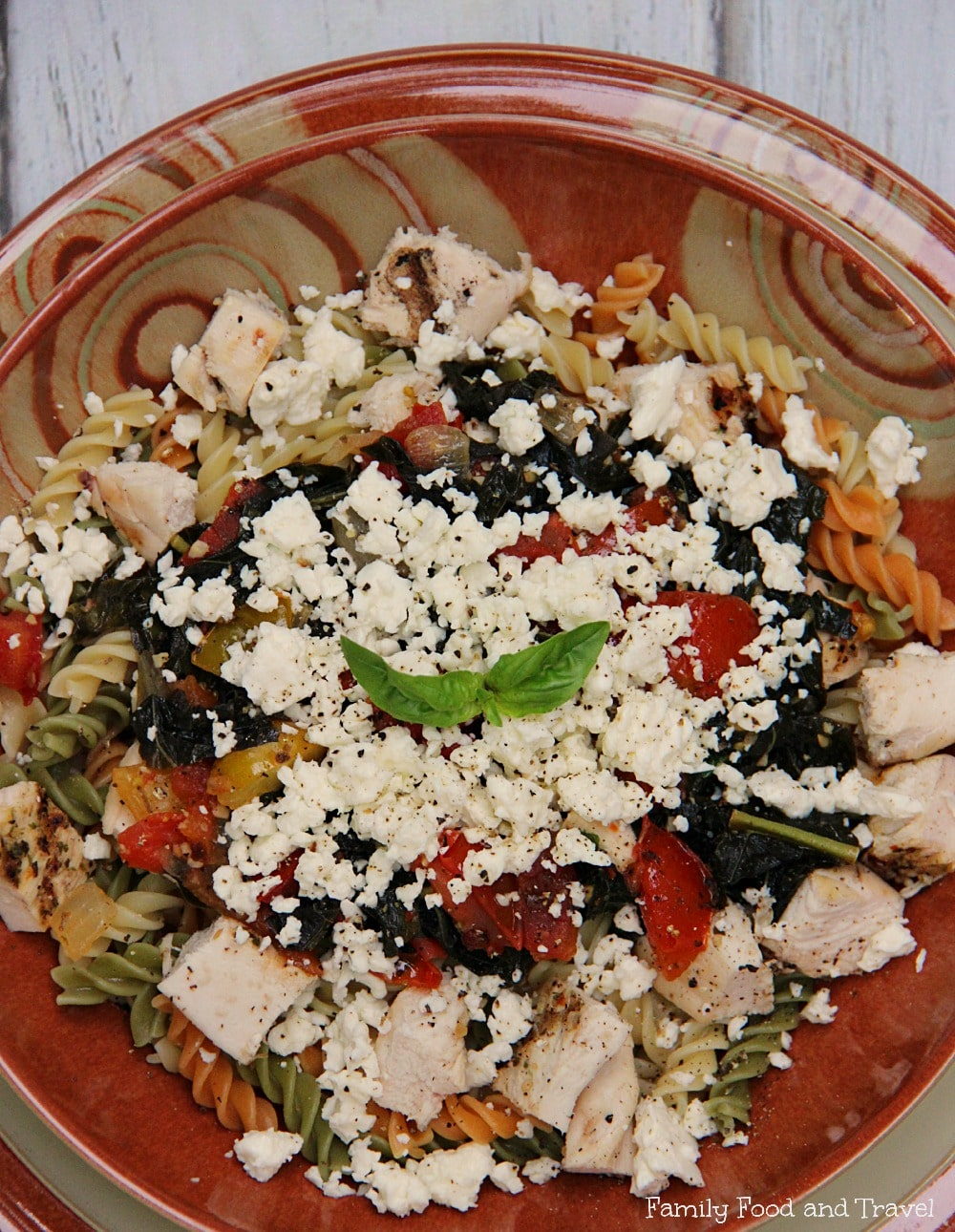 Chicken Kale Tomato and Feta Pasta 3