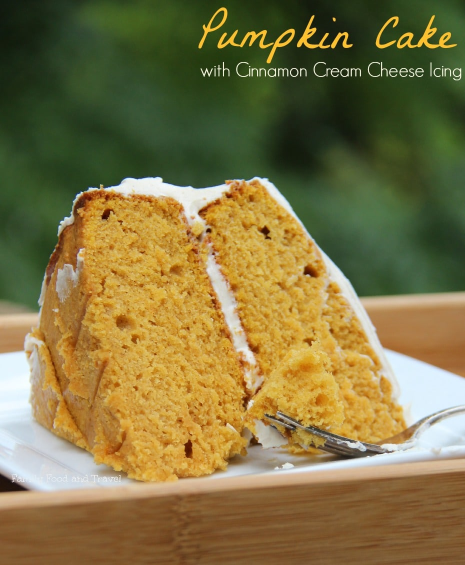 Pumpkin Cake with Cinnamon Cream Cheese Icing
