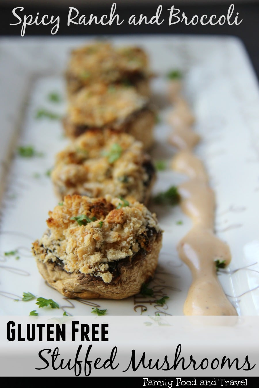 Spicy Ranch and Broccoli Gluten Free Stuffed Mushrooms
