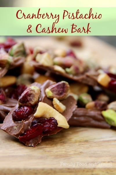 Cranberry Pistachio and Cashew Bark