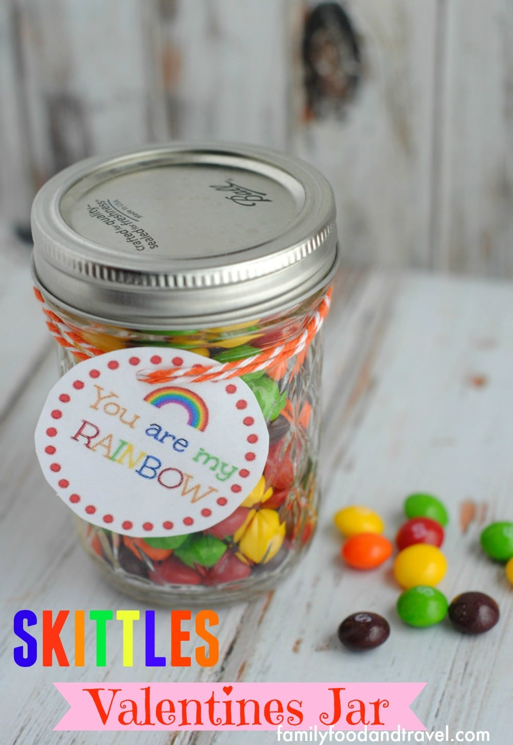 skittles rainbow jar with candy