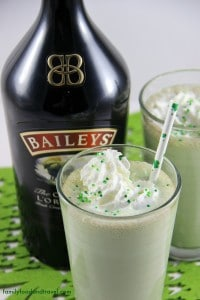 Mint Chocolate Chip Baileys Milkshake a delicious adult drink for St. Patrick's Day