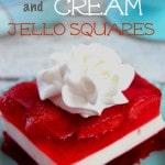 Strawberries and Cream Jello Squares