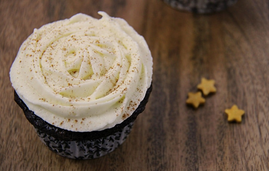 Chocolate Cupcakes with Eggnog Buttercream