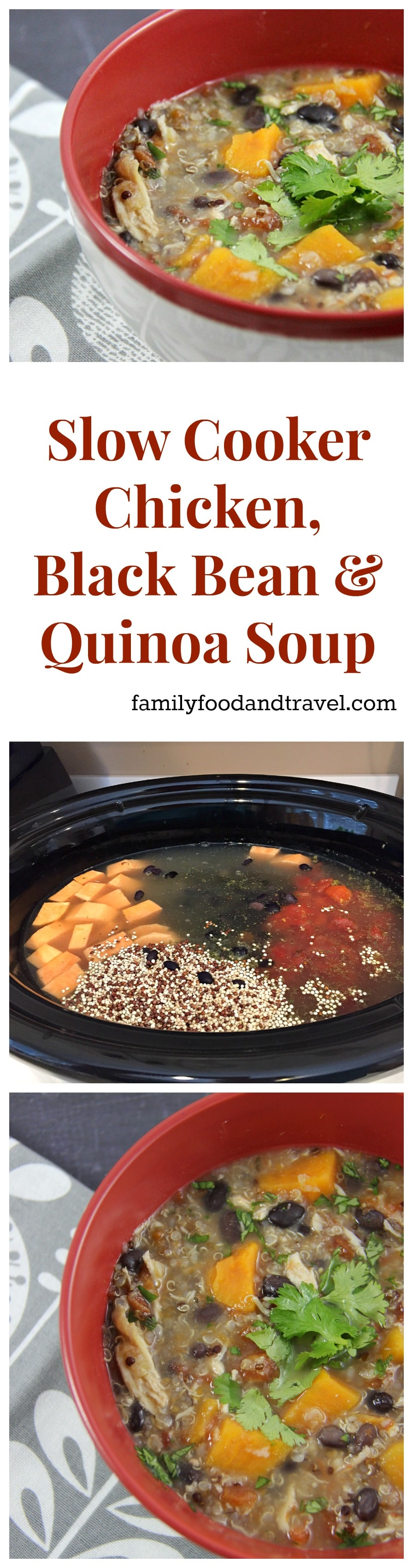 Slow Cooker Chicken Black Bean and Quinoa Soup