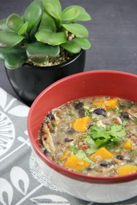 Slow Cooker Chicken and Black Bean Soup with Quinoa