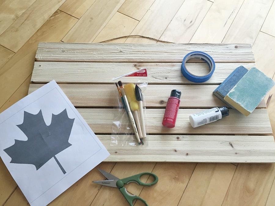 DIY Rustic Wooden Flag Supplies