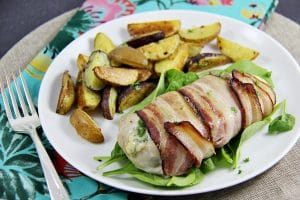 Bacon Wrapped Chicken Breasts Stuffed with Blue Cheese and Figs #duBretonDelicious