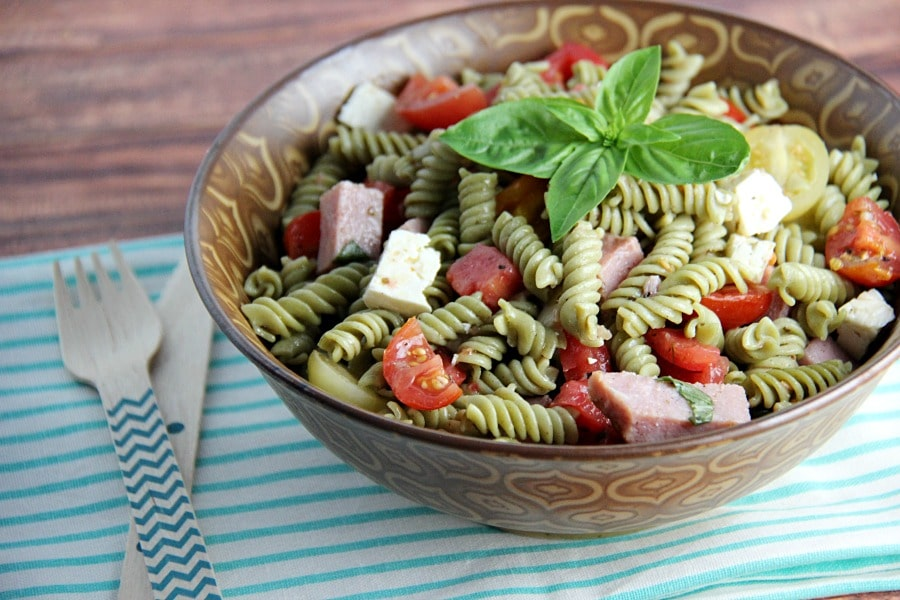 Ham Tomato and Feta Pasta Salad