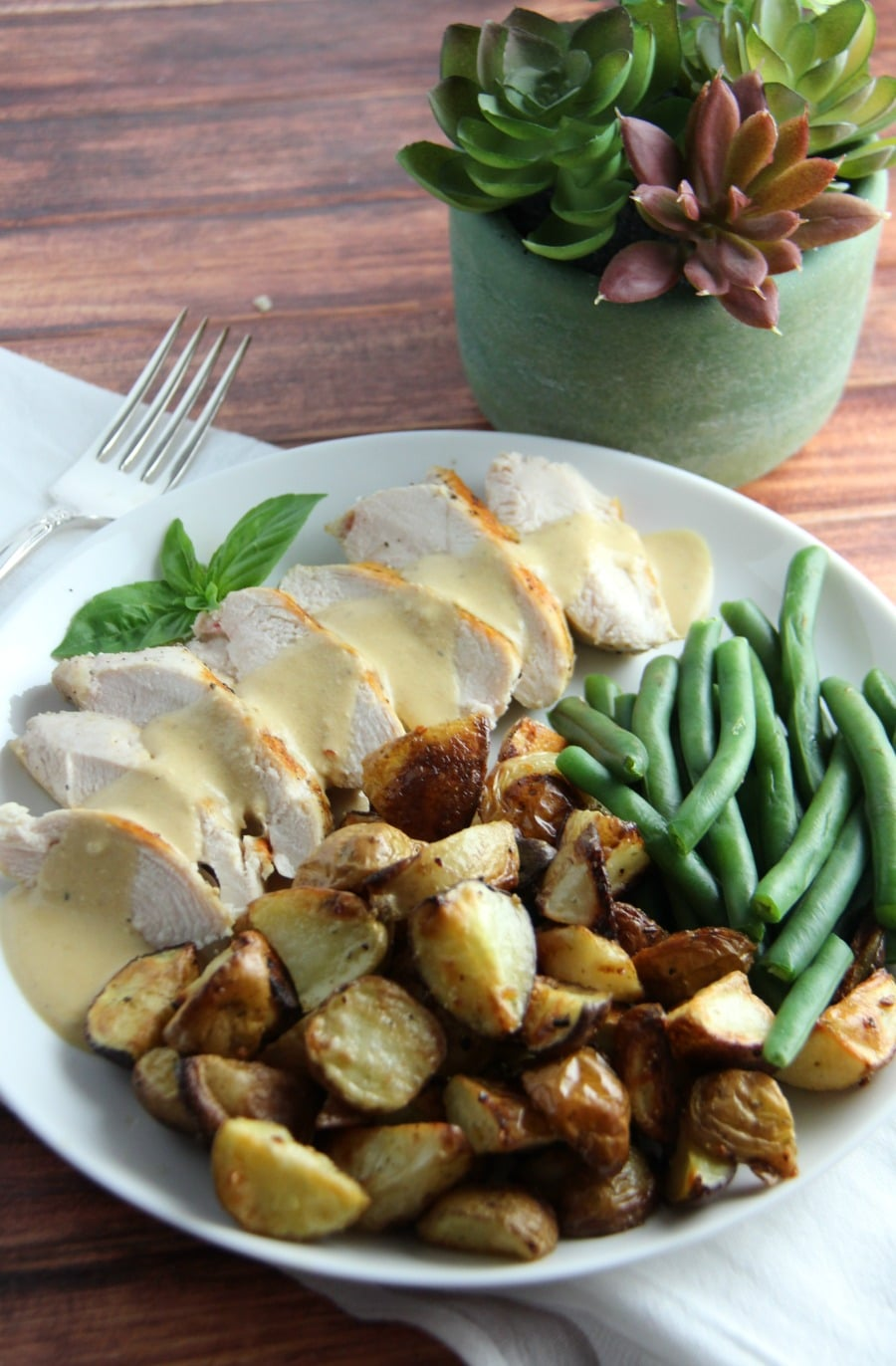 Pan Seared Chicken with Green Beans, Roasted Potatoes and a Creamy Mustard Sauce