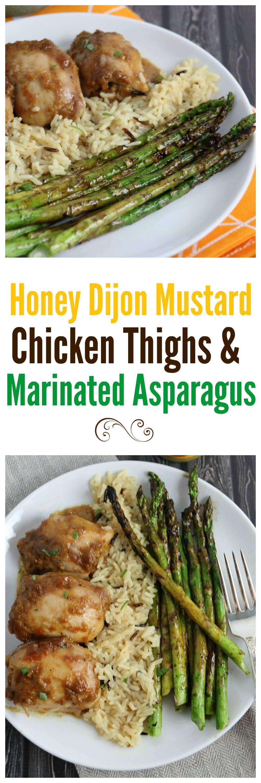 Honey Dijon Mustard Chicken Thighs and Marinated Asparagus