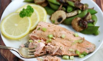 Honey Soy Rainbow Trout Recipe with Snap Peas and Mushrooms