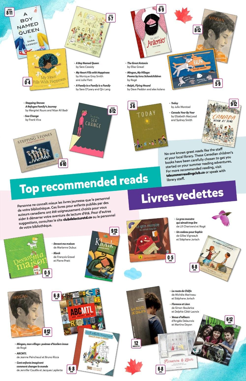 TD Summer Reading Club Book Choices