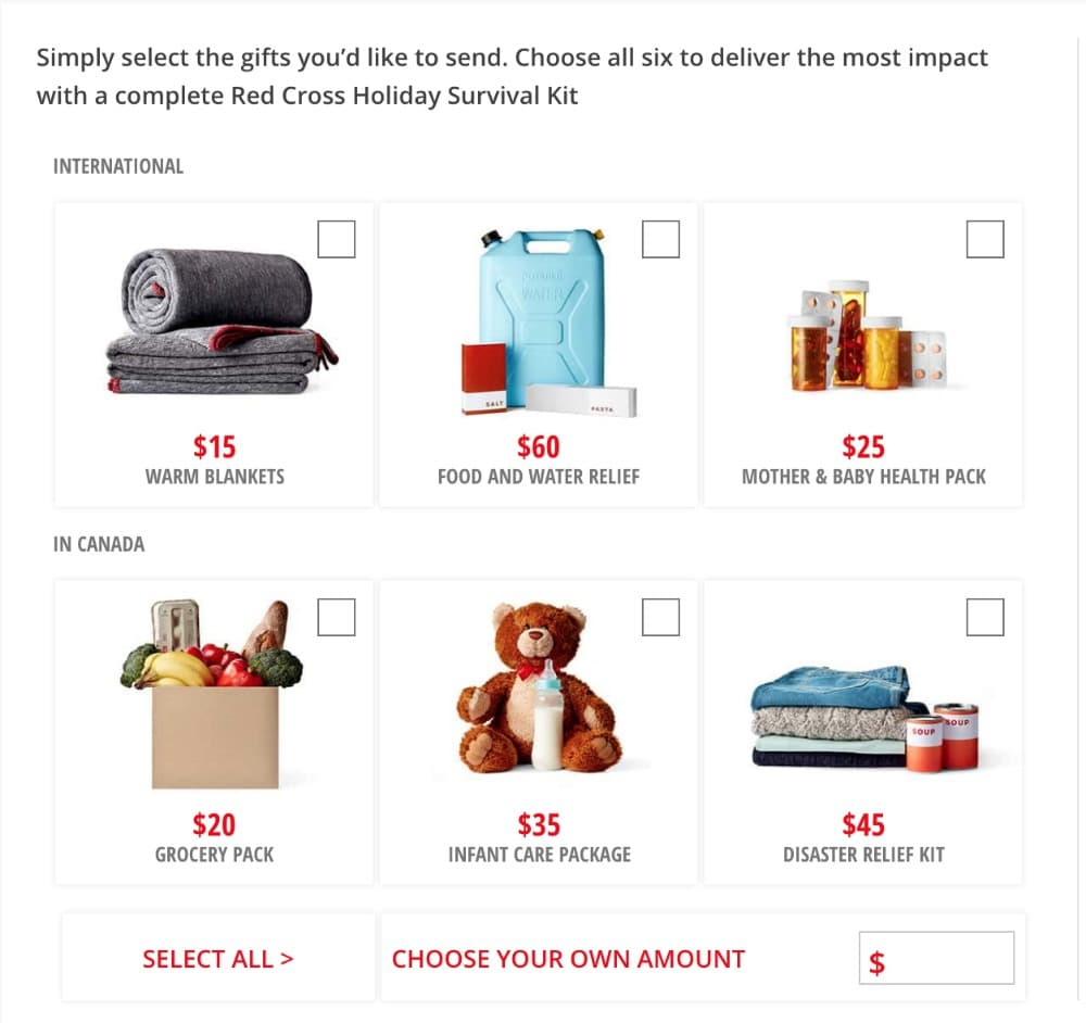 Red Cross Canada Perfect Gifts