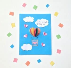 Valentines Day Kids Craft: Heart Air Balloon Card