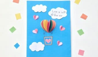 Valentines Day Kids Craft: Heart Air Balloon Card