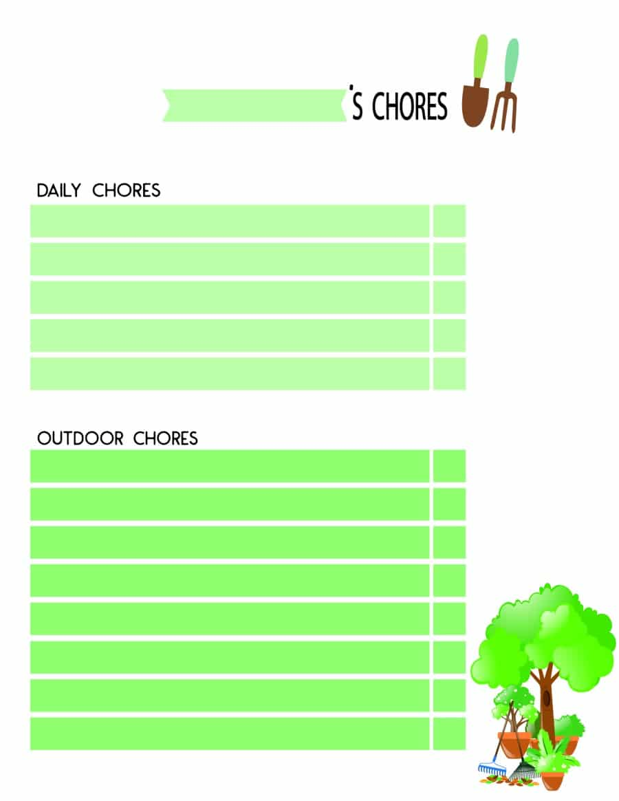 outdoor chore chart for kids