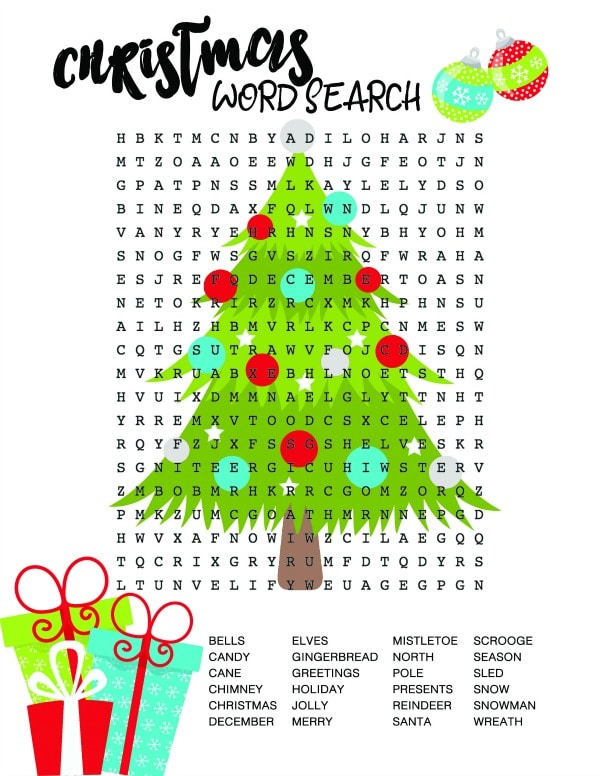 Christmas Word Search Christmas Tree