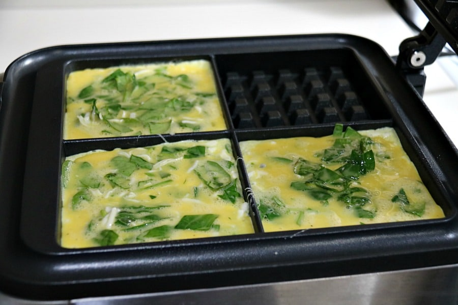 Spinach Omelette in a Waffle Maker ready to cook