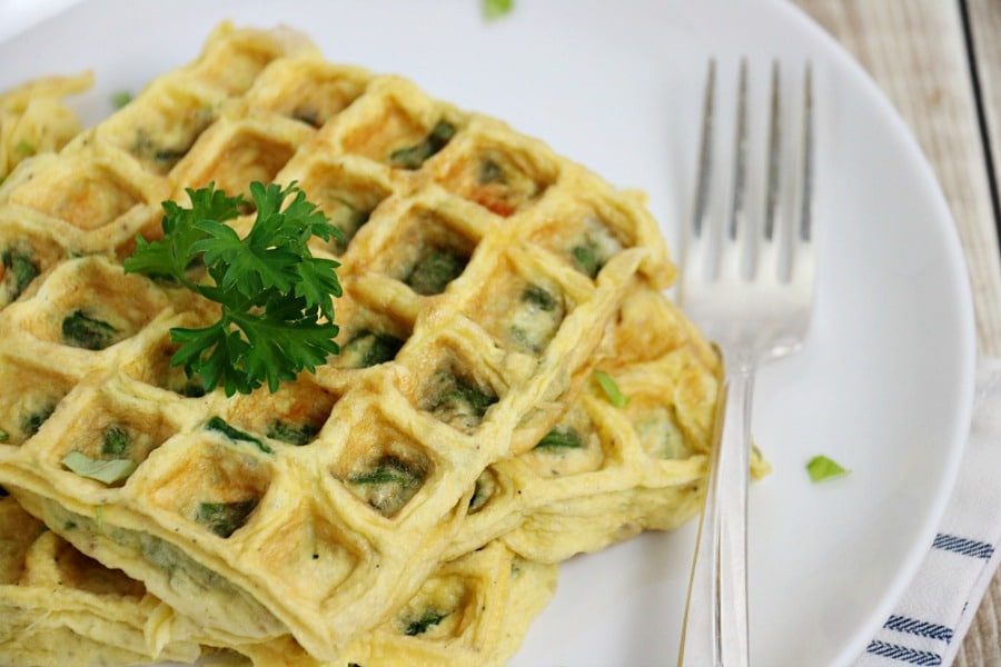 Waffle Maker Spinach Omelette