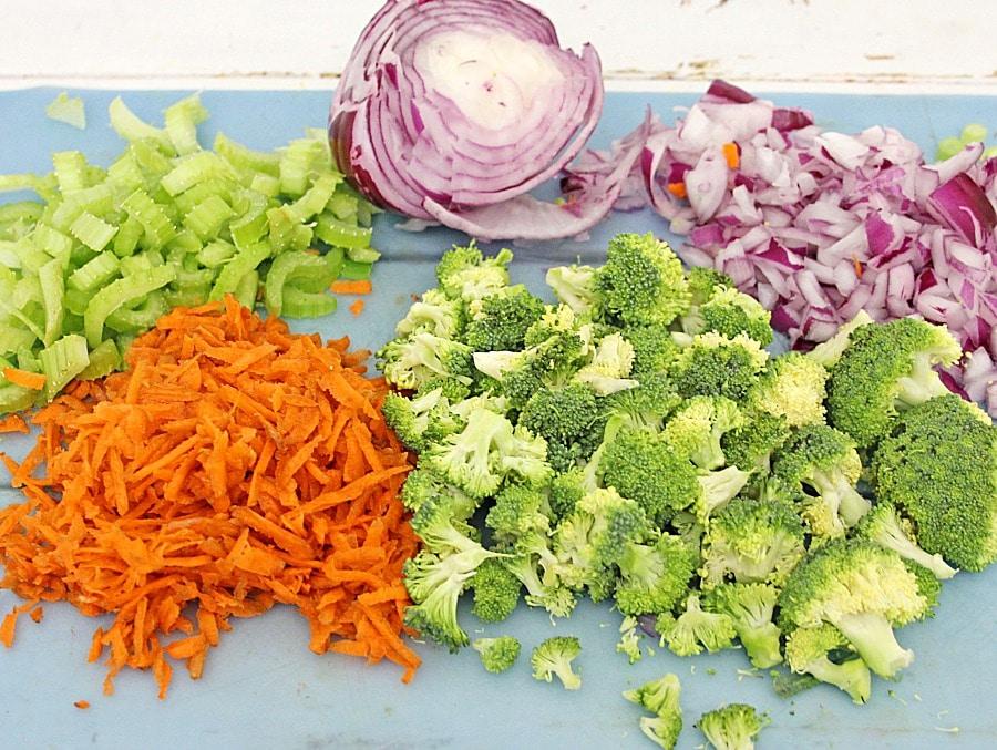 Honey Crisp Broccoli Salad process ingredients