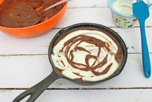 SKILLET Brownie Cheesecake in Process